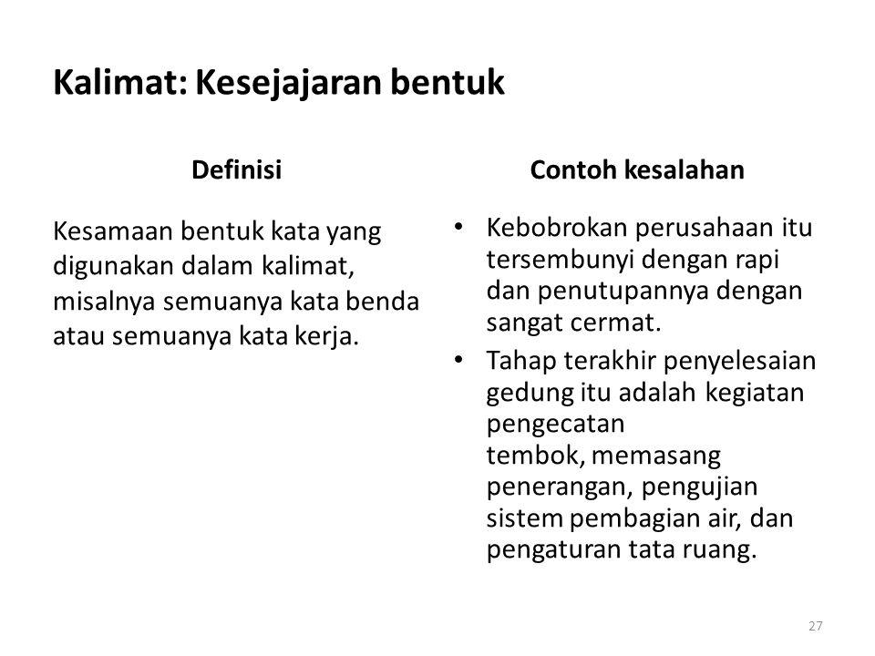 Kalimat: Kesejajaran bentuk