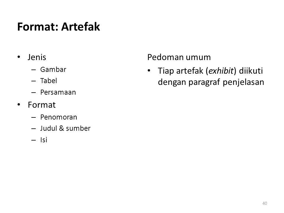Format: Artefak Jenis Format Pedoman umum