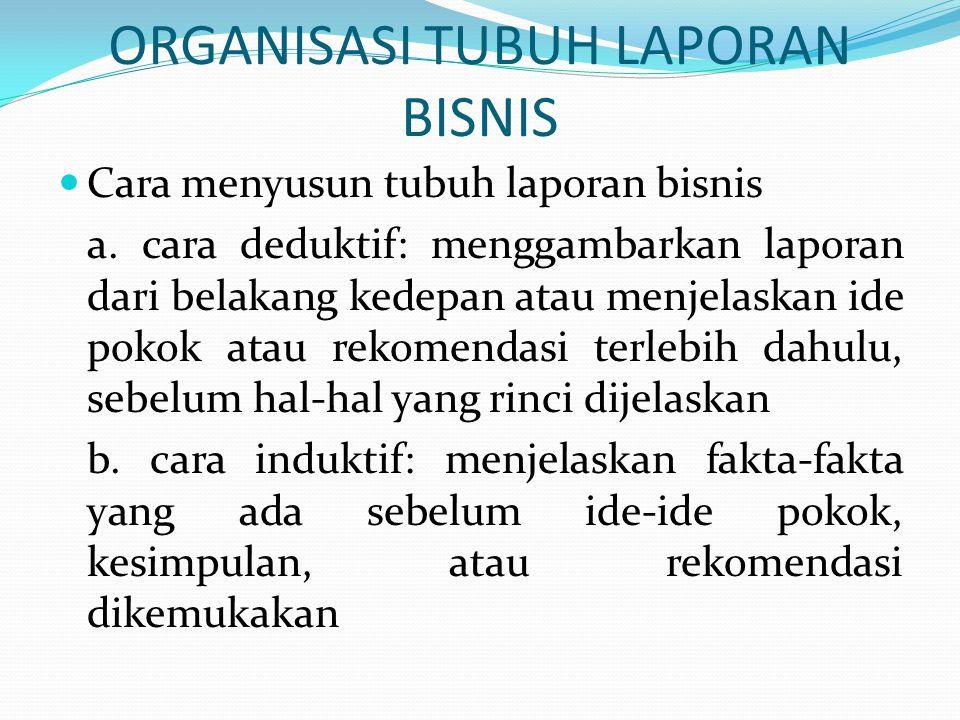 ORGANISASI TUBUH LAPORAN BISNIS