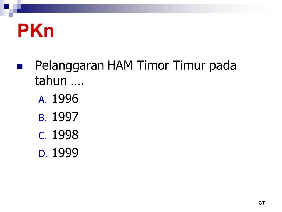 PKn Pelanggaran HAM Timor Timur pada tahun …. 1996 1997 1998 1999