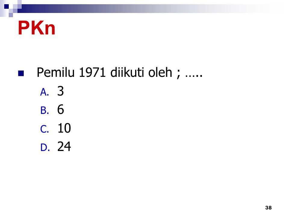 PKn Pemilu 1971 diikuti oleh ; ….. 3 6 10 24 by iwan & yeni
