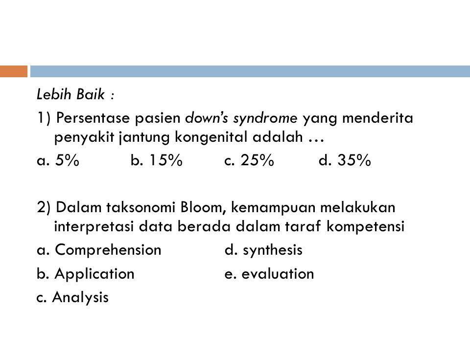 Lebih Baik : 1) Persentase pasien down's syndrome yang menderita penyakit jantung kongenital adalah … a.