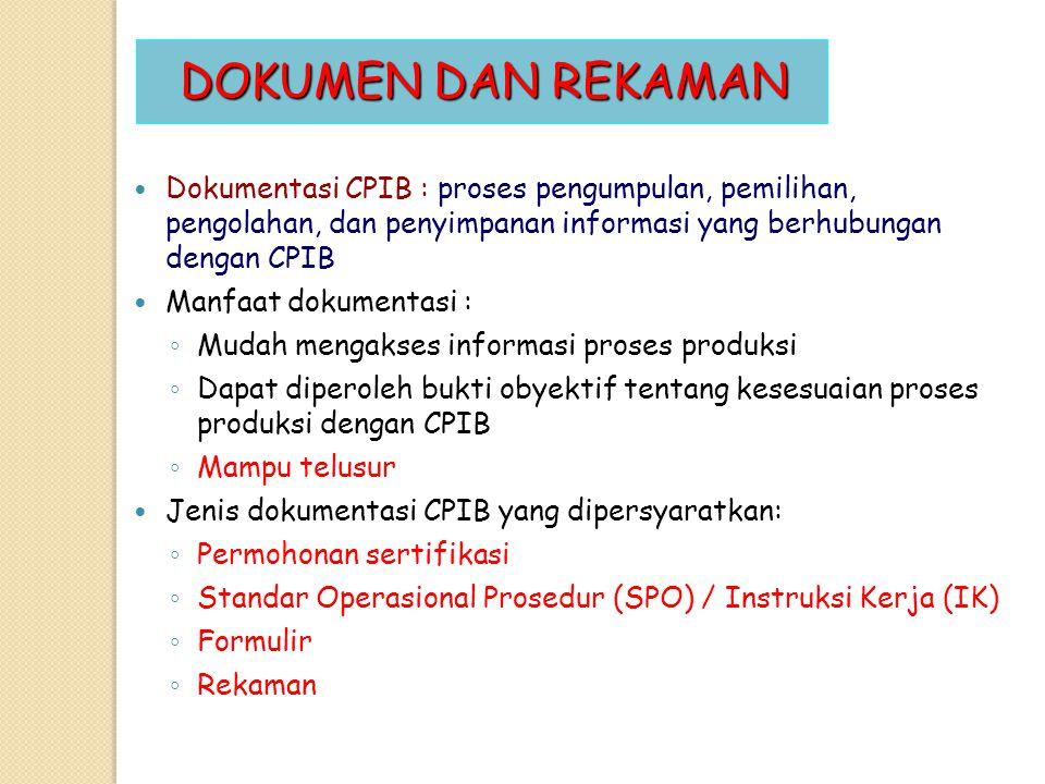 DOKUMEN DAN REKAMAN Dokumentasi CPIB : proses pengumpulan, pemilihan, pengolahan, dan penyimpanan informasi yang berhubungan dengan CPIB.
