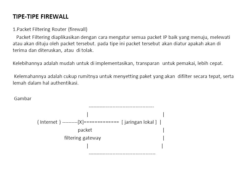 TIPE-TIPE FIREWALL 1.Packet Filtering Router (firewall)