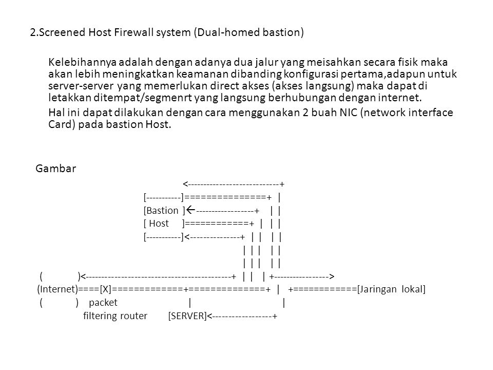 2.Screened Host Firewall system (Dual-homed bastion)