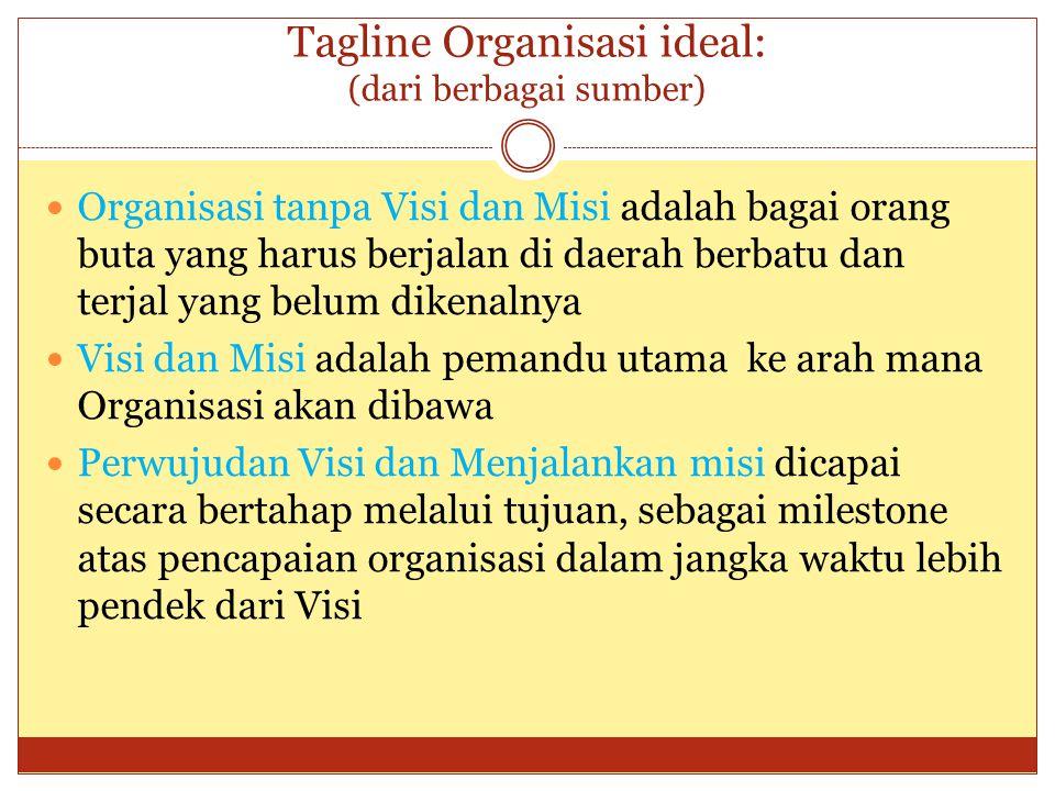 Tagline Organisasi ideal: (dari berbagai sumber)