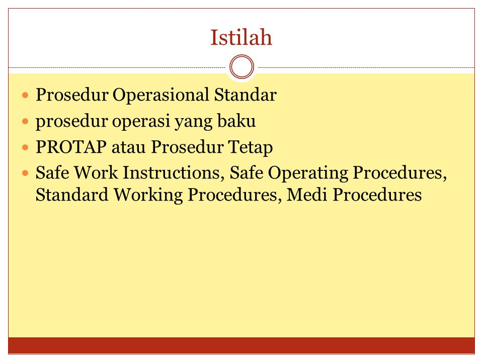 Istilah Prosedur Operasional Standar prosedur operasi yang baku