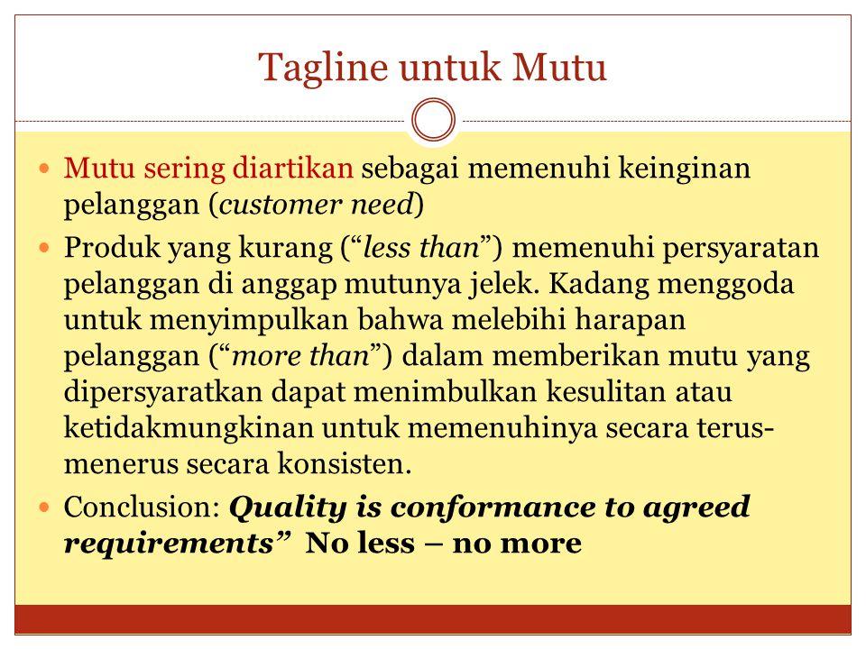 Tagline untuk Mutu Mutu sering diartikan sebagai memenuhi keinginan pelanggan (customer need)
