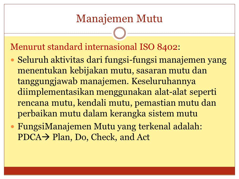 Manajemen Mutu Menurut standard internasional ISO 8402: