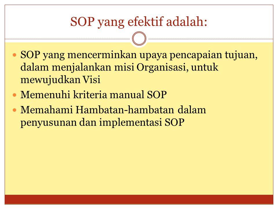 SOP yang efektif adalah: