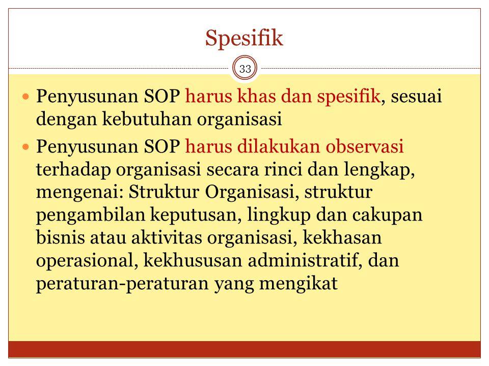 Spesifik Penyusunan SOP harus khas dan spesifik, sesuai dengan kebutuhan organisasi.