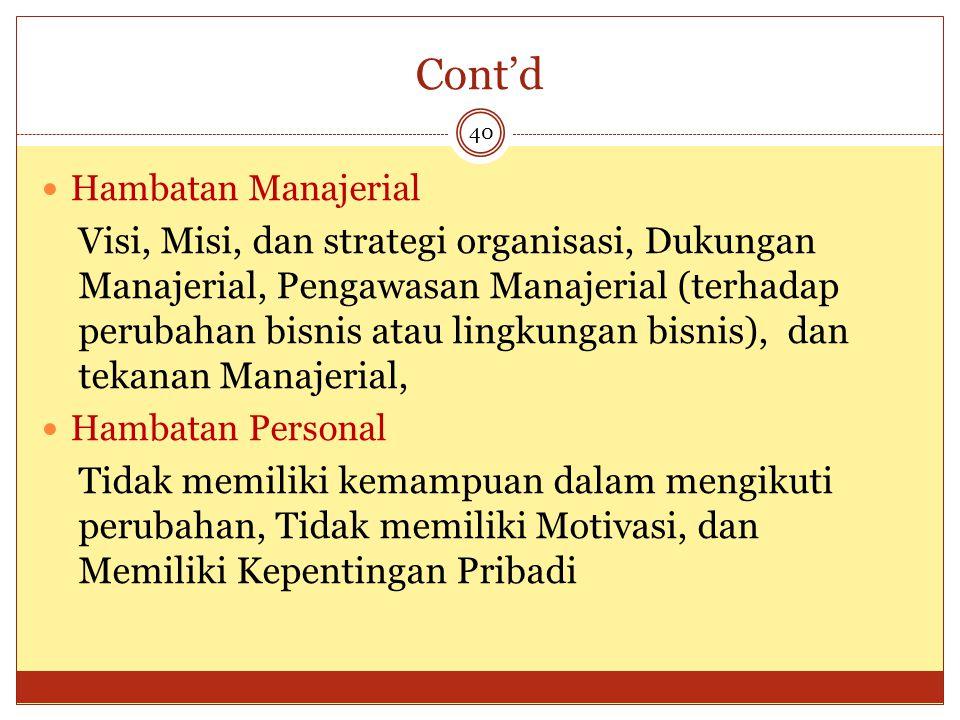 Cont'd Hambatan Manajerial.