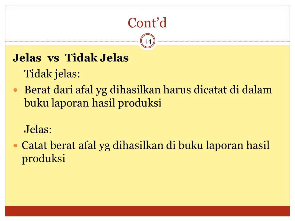 Cont'd Jelas vs Tidak Jelas Tidak jelas: