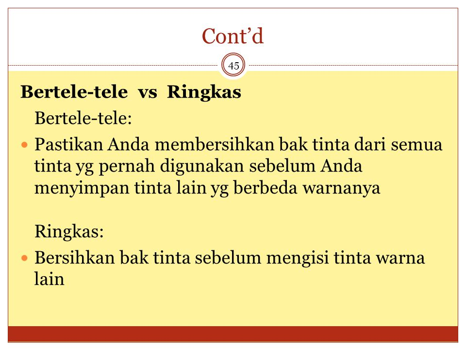 Cont'd Bertele-tele vs Ringkas Bertele-tele: