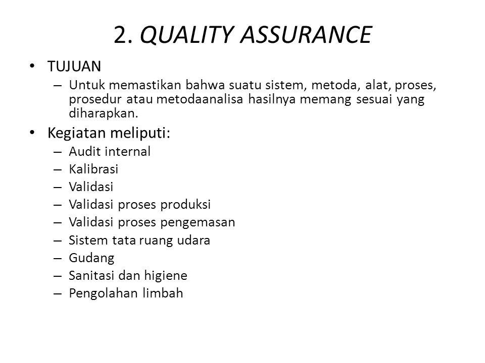 2. QUALITY ASSURANCE TUJUAN Kegiatan meliputi: