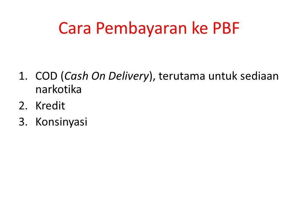 Cara Pembayaran ke PBF COD (Cash On Delivery), terutama untuk sediaan narkotika Kredit Konsinyasi
