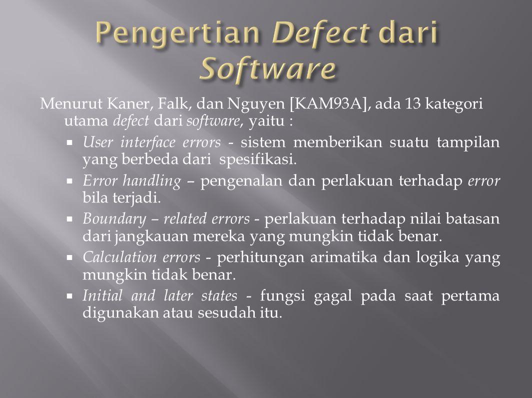Pengertian Defect dari Software