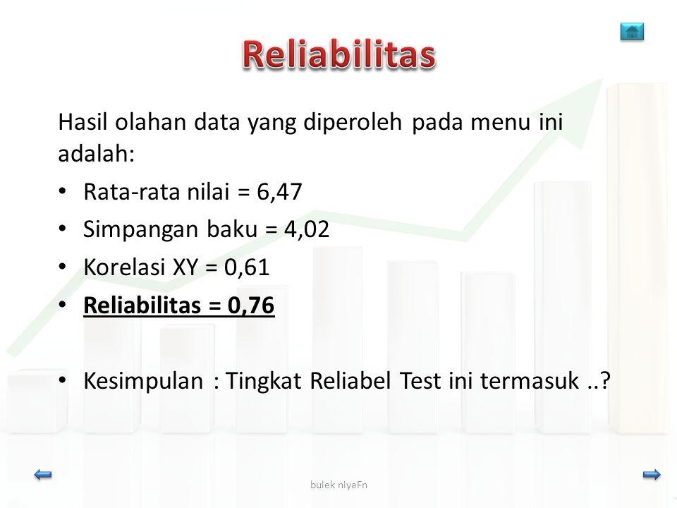 Reliabilitas Hasil olahan data yang diperoleh pada menu ini adalah: