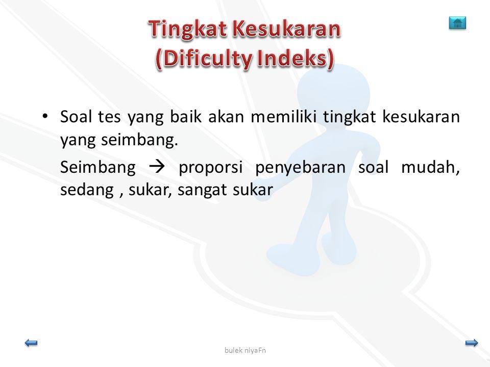 Tingkat Kesukaran (Dificulty Indeks)