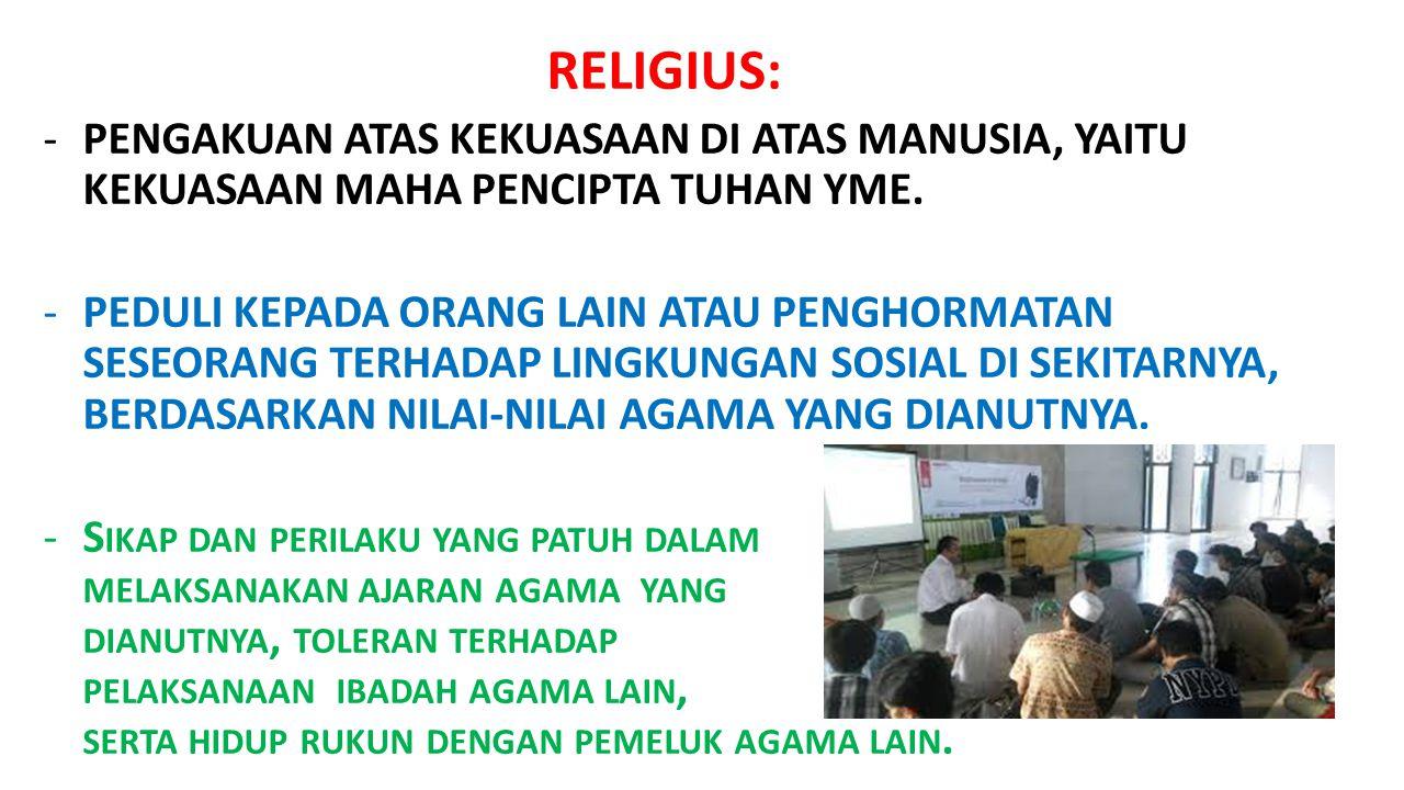 RELIGIUS: PENGAKUAN ATAS KEKUASAAN DI ATAS MANUSIA, YAITU KEKUASAAN MAHA PENCIPTA TUHAN YME.