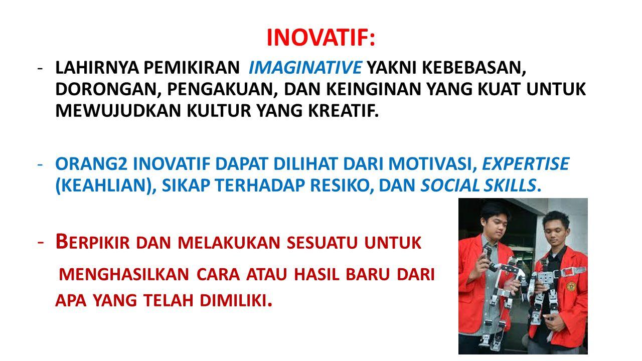 INOVATIF: Berpikir dan melakukan sesuatu untuk
