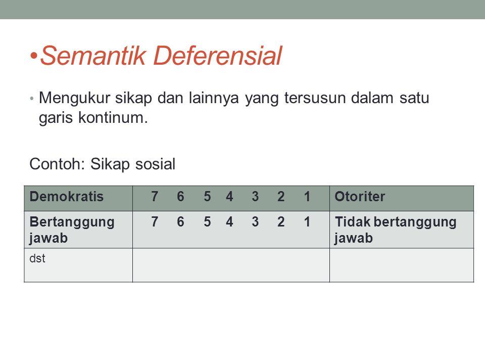Semantik Deferensial Mengukur sikap dan lainnya yang tersusun dalam satu garis kontinum. Contoh: Sikap sosial.