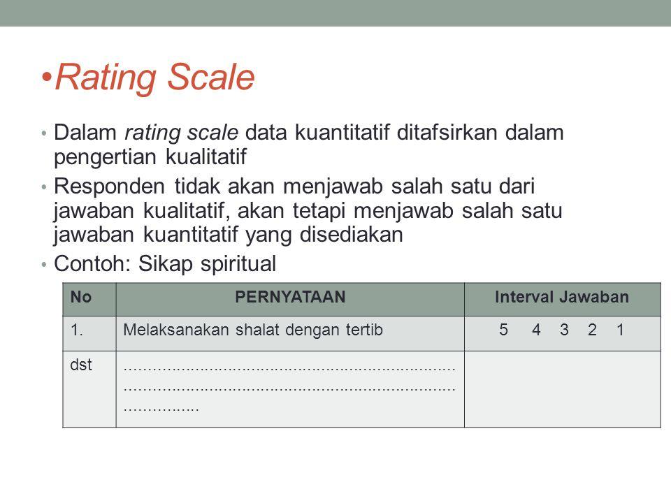 Rating Scale Dalam rating scale data kuantitatif ditafsirkan dalam pengertian kualitatif.