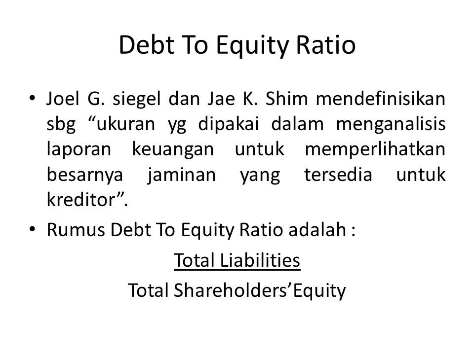 Total Shareholders'Equity
