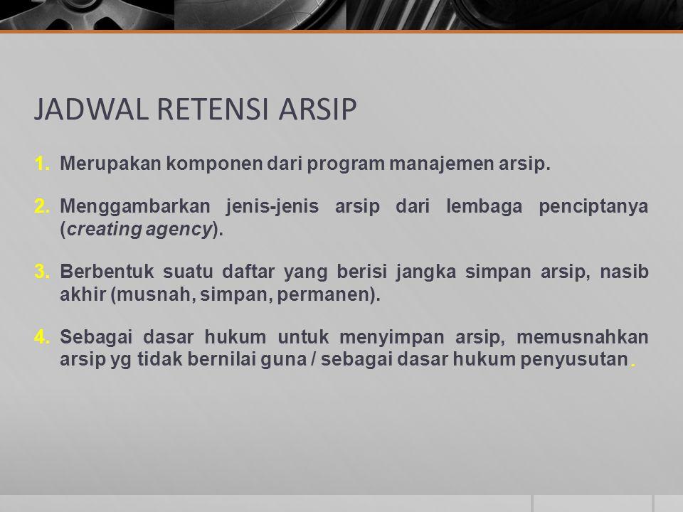 JADWAL RETENSI ARSIP Merupakan komponen dari program manajemen arsip.