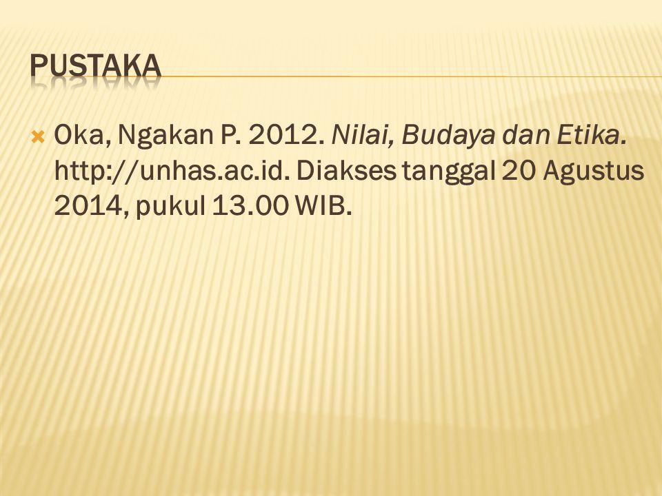 pustaka Oka, Ngakan P. 2012. Nilai, Budaya dan Etika.