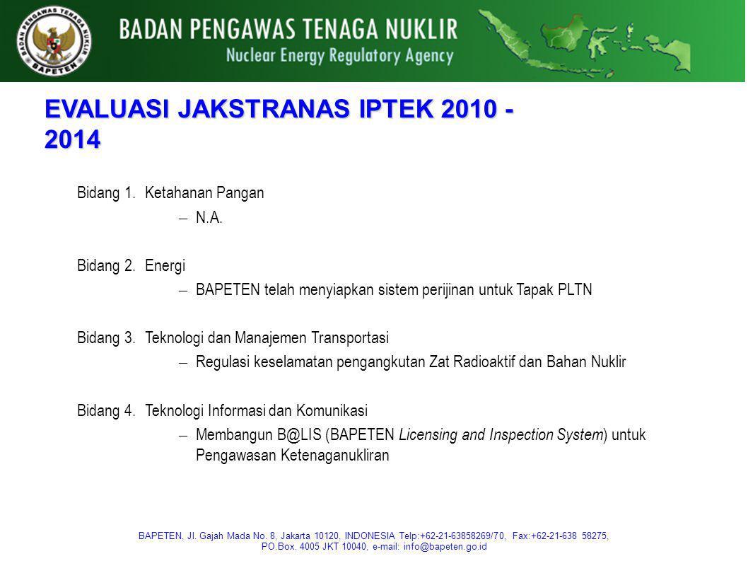 EVALUASI JAKSTRANAS IPTEK 2010 - 2014