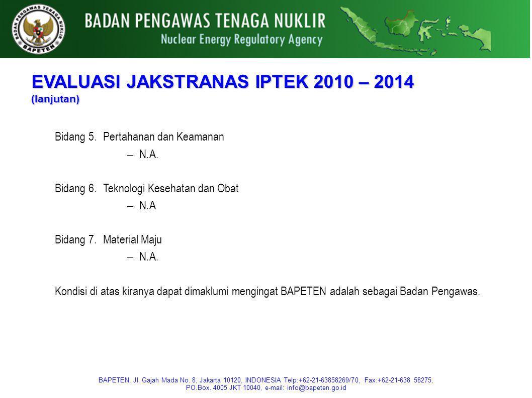 EVALUASI JAKSTRANAS IPTEK 2010 – 2014 (lanjutan)