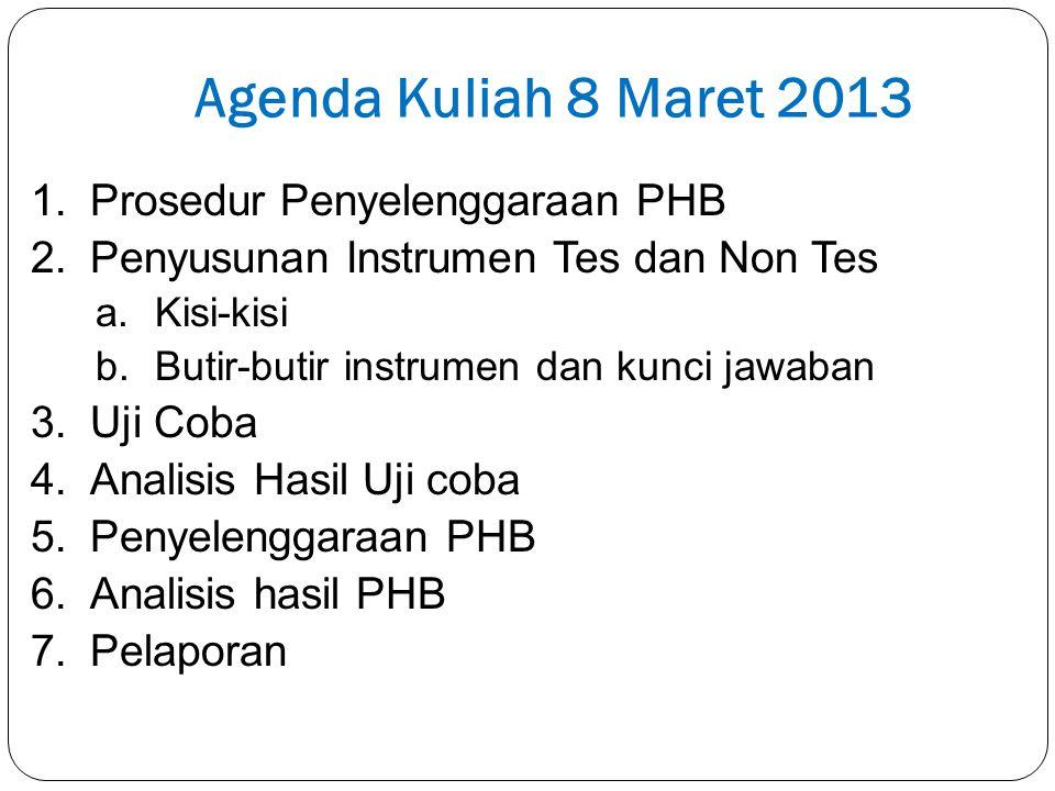 Agenda Kuliah 8 Maret 2013 Prosedur Penyelenggaraan PHB
