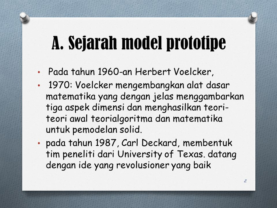 A. Sejarah model prototipe