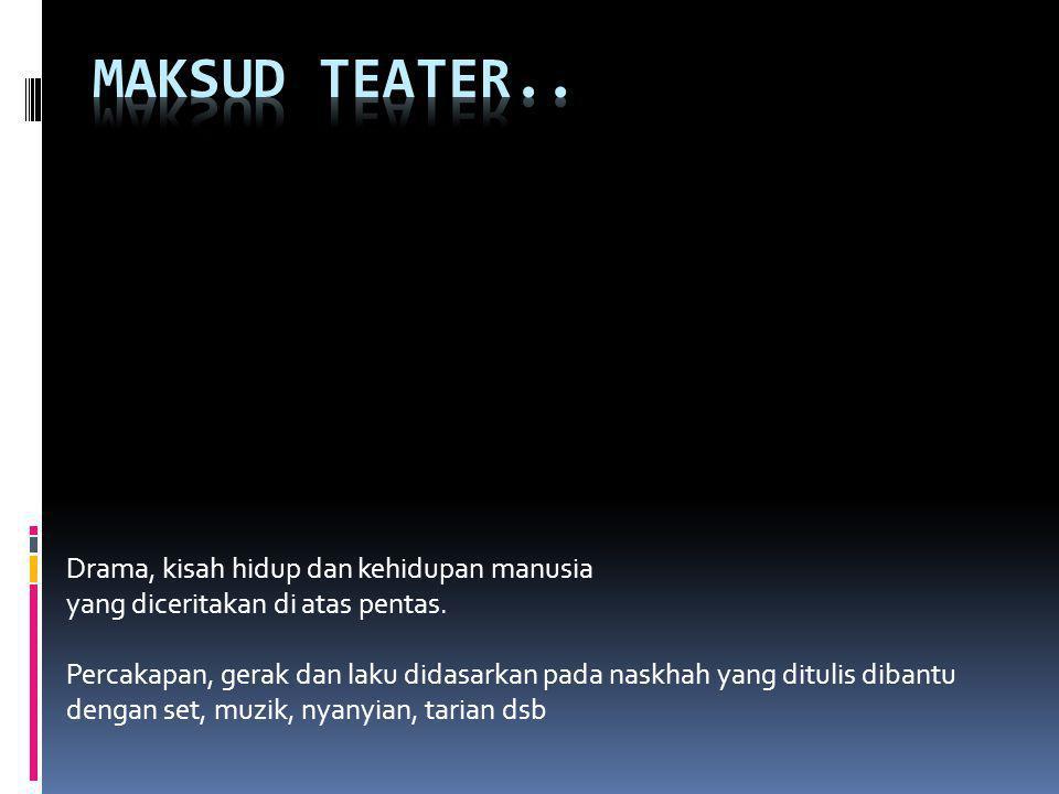 Maksud teater.. Drama, kisah hidup dan kehidupan manusia