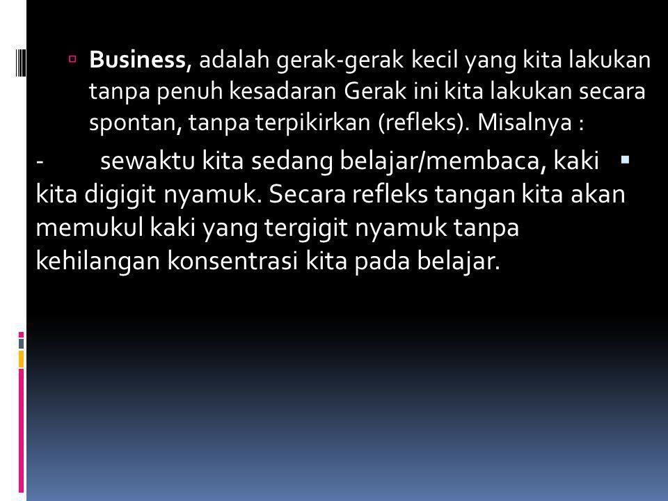 Business, adalah gerak‑gerak kecil yang kita lakukan tanpa penuh kesadaran Gerak ini kita lakukan secara spontan, tanpa terpikirkan (refleks). Misalnya :