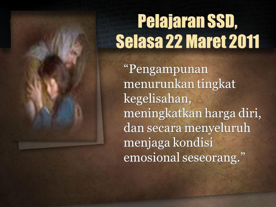 Pelajaran SSD, Selasa 22 Maret 2011