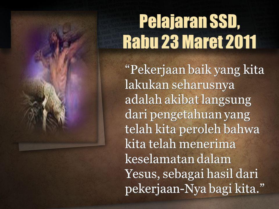Pelajaran SSD, Rabu 23 Maret 2011