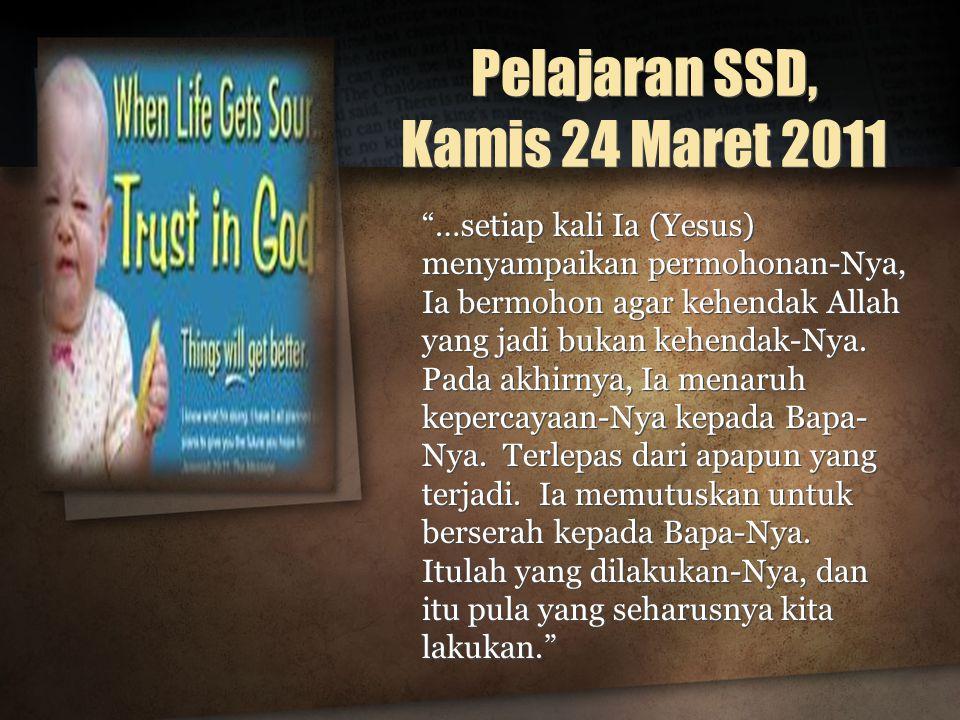 Pelajaran SSD, Kamis 24 Maret 2011
