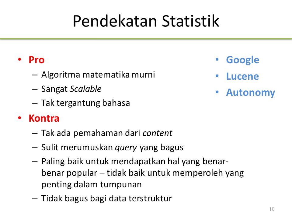 Pendekatan Statistik Pro Kontra Google Lucene Autonomy