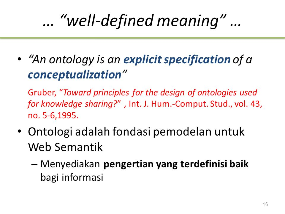 … well-defined meaning …