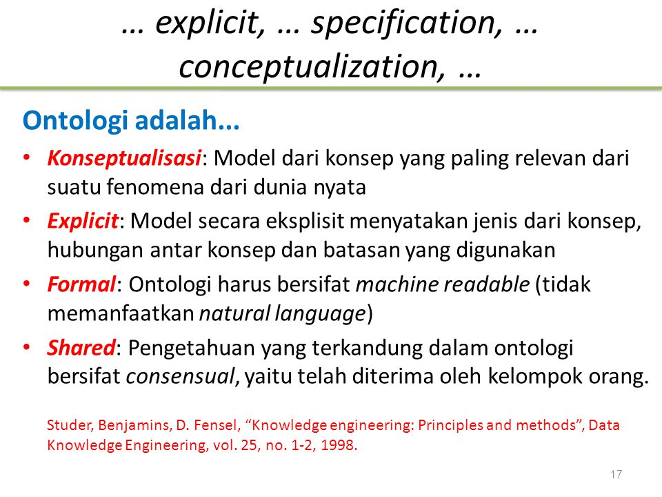 … explicit, … specification, … conceptualization, …