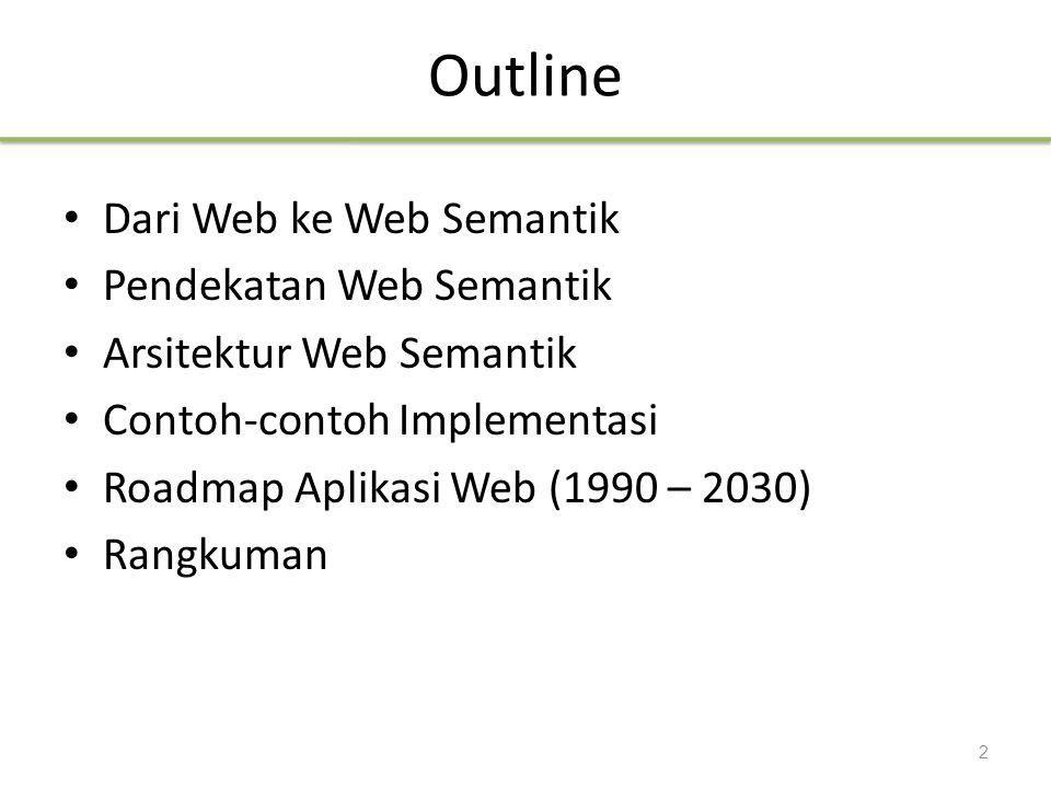 Outline Dari Web ke Web Semantik Pendekatan Web Semantik