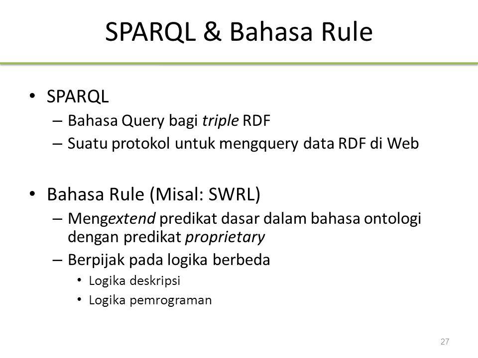 SPARQL & Bahasa Rule SPARQL Bahasa Rule (Misal: SWRL)