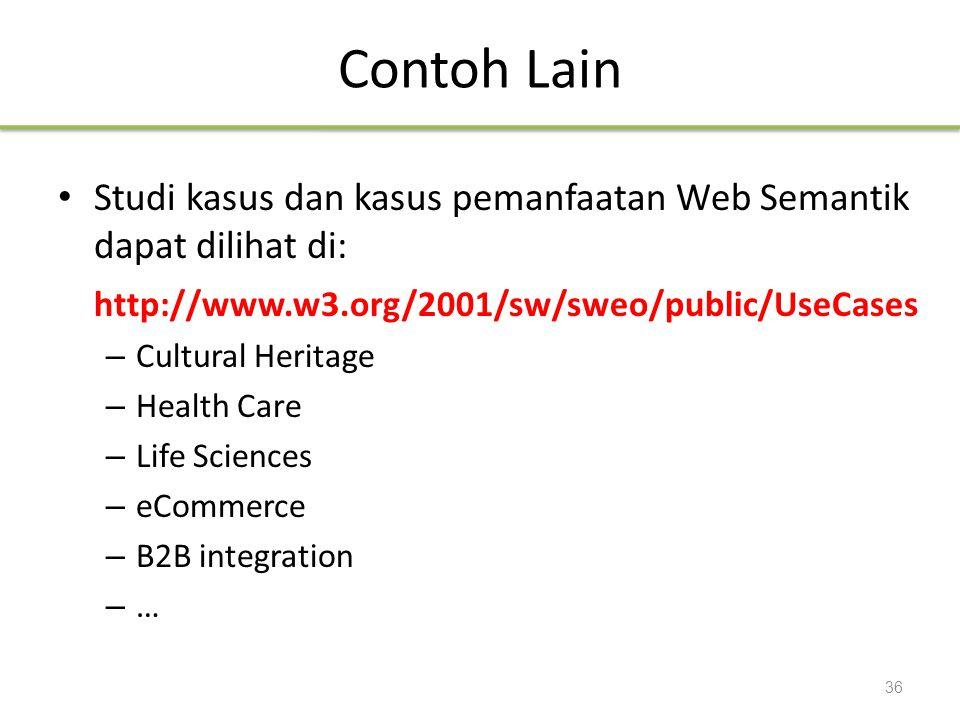 Contoh Lain Studi kasus dan kasus pemanfaatan Web Semantik dapat dilihat di: http://www.w3.org/2001/sw/sweo/public/UseCases.