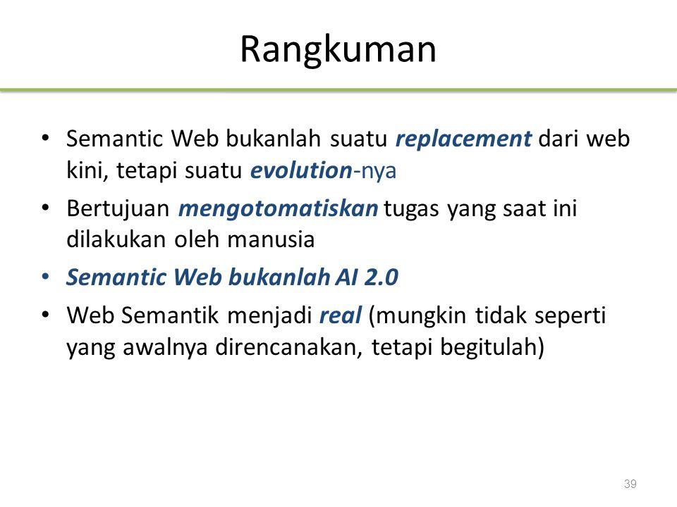 Rangkuman Semantic Web bukanlah suatu replacement dari web kini, tetapi suatu evolution-nya.
