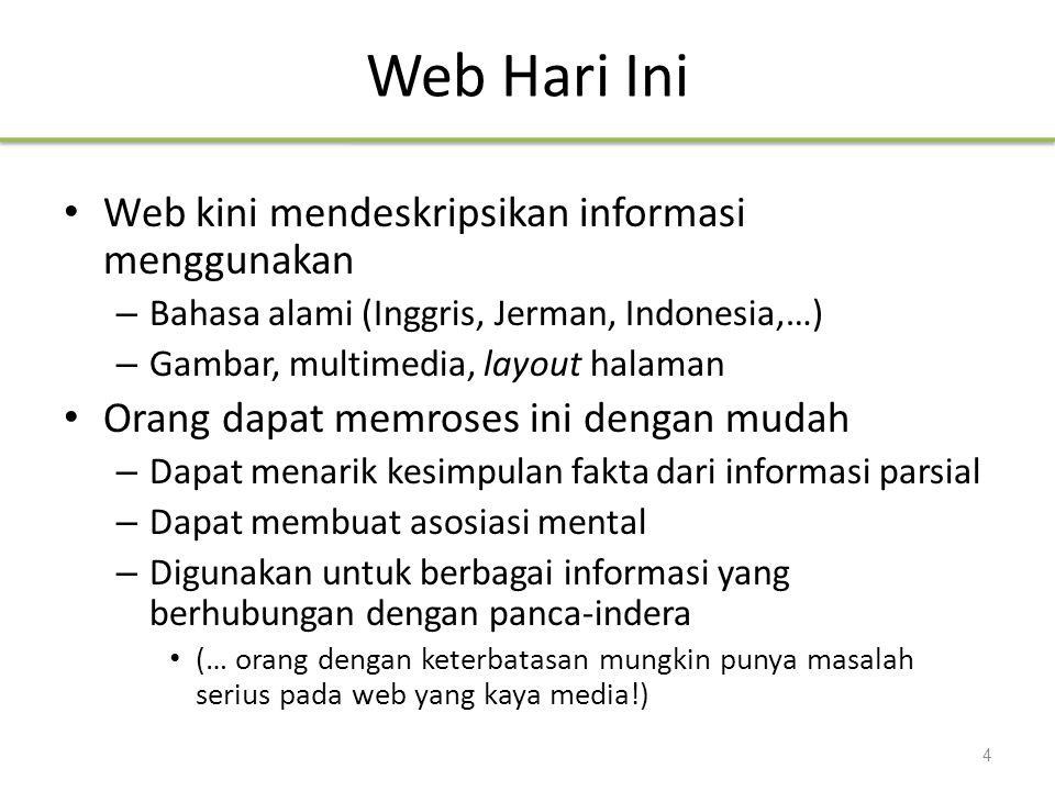 Web Hari Ini Web kini mendeskripsikan informasi menggunakan