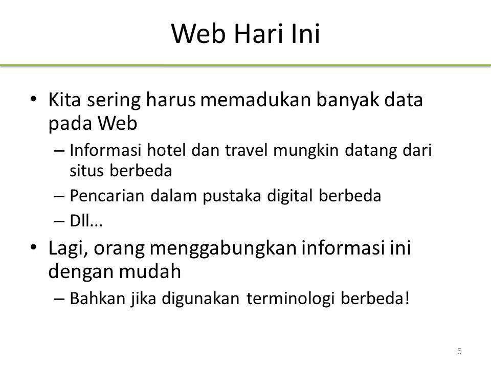 Web Hari Ini Kita sering harus memadukan banyak data pada Web