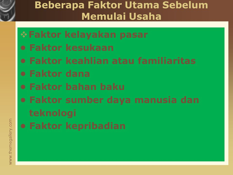 Beberapa Faktor Utama Sebelum Memulai Usaha