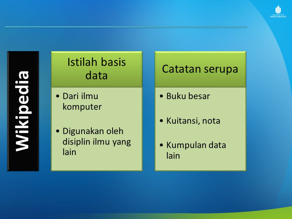Wikipedia Istilah basis data Catatan serupa Dari ilmu komputer